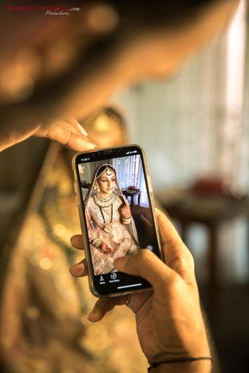 Wedding day unique bridal portrait on phone