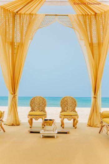 Yellow simple beachside mandap