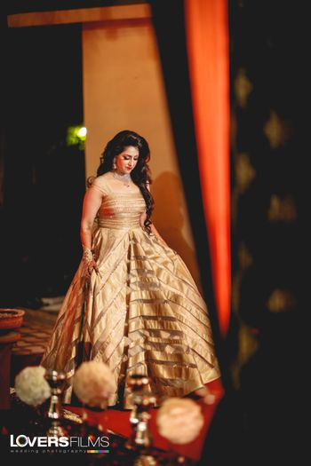 Gold sangeet gown for cocktail party