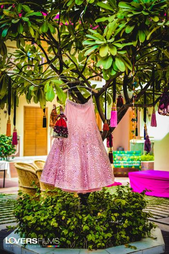 Light pink lehenga on hanger on tree