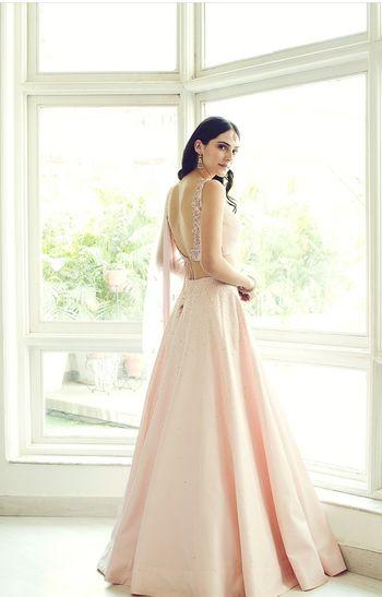 Light blush pink engagement lehenga