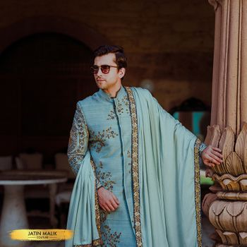 Photo of Unique sherwani in light blue colour
