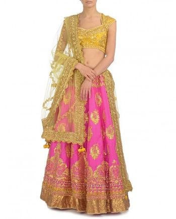 Photo of yellow and pink lehenga