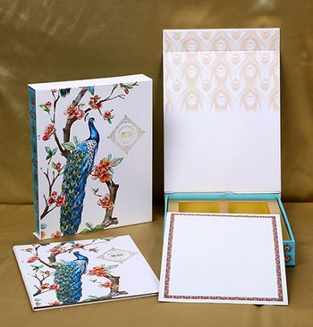 Photo of Peacock theme wedding invite box