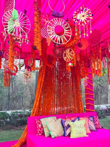 Photo of Mehendi seating idea with dreamcatchers
