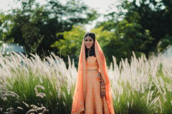 Neon orange bridal lehenga