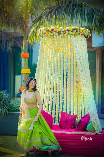 Happy bride in green Anushree reddy lehenga