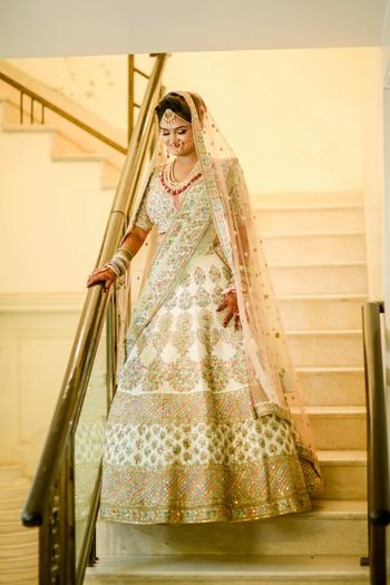 White Sabyasachi lehenga for bride