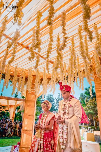 Mandap with hanging floral stings