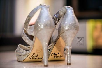 Bridal Shoes with Messages and Dates on the Sole