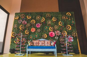 Beautiful floral photobooth for mehendi function