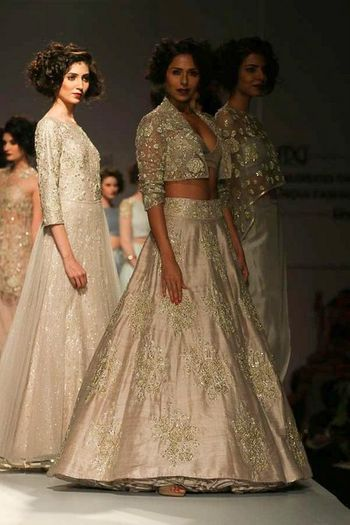 Photo of silver grey lehenga