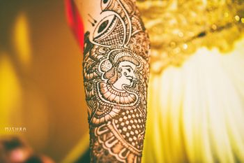 Unique mehendi design with musical instruments