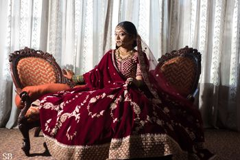 Simple bridal maroon lehenga