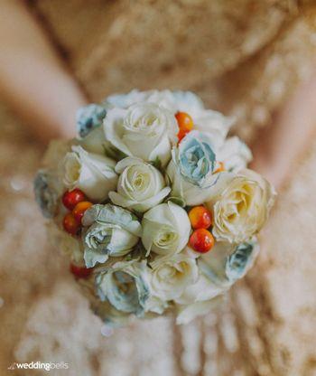 Unique bridal bouquet with fruits