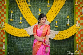 South India bride in a pink saree