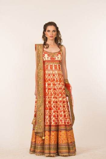 Photo of off white and red sleeveless anarkali