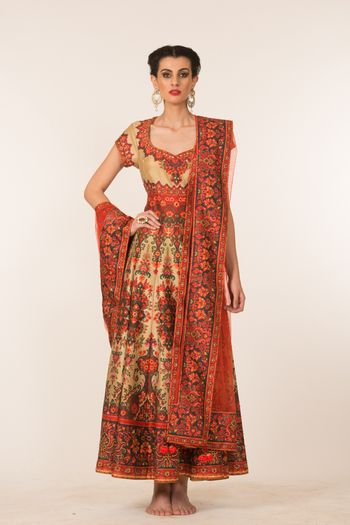 Photo of cream and coral red anarkali
