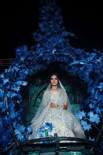 Unique bridal entry with bride in grey lehenga