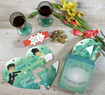 Photo of Puzzle game wedding card