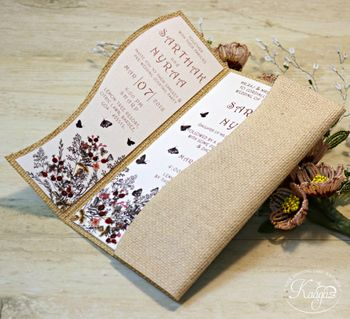 Rustic wedding card with burlap