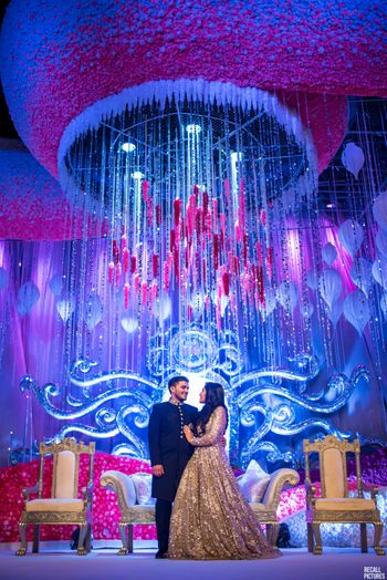 Grand stage decor idea with chandelier