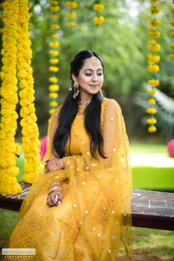 Haldi bridal look in yellow outfit