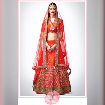Photo of Orange Light Lehnega with Gold  Border