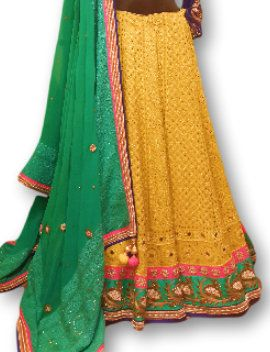 Photo of yelloe chikan work lehenga