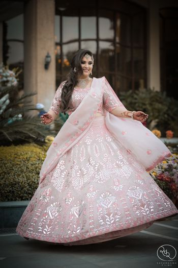 Light pink engagement lehenga with silverwork