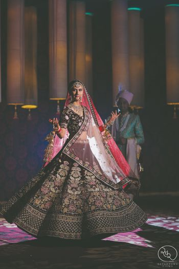 Velvet bridal lehenga for winter wedding