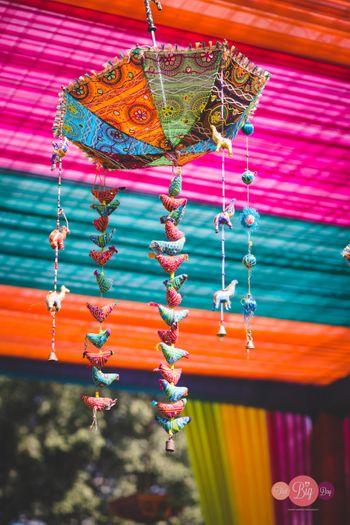 Hanging umbrella for Rajasthani theme decor