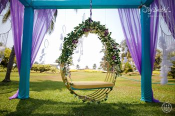 Pretty floral swing decor for mehendi