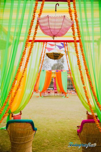 Photo of colorful curtain drapes