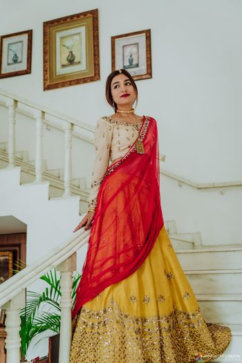 Simple bridal look in red and yellow lehenga