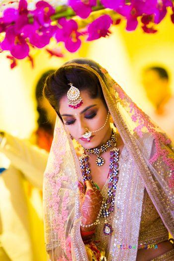 Bridal entry portrait with smokey eye