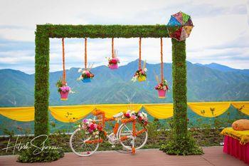 Mehendi photobooth with bicycle prop