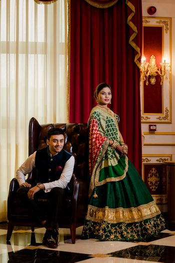 Photo of Green lehenga and contrasting dupatta