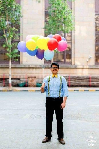 Photo of balloons as prop for pre wedding shoot