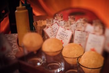 Cute golgappe in shot glasses for cocktail event