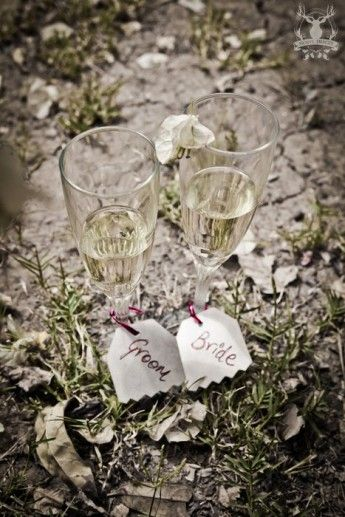 Photo of props for pre wedding shoot champagne glasses