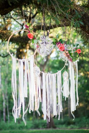 Backyard decor with tassel dreamcatchers