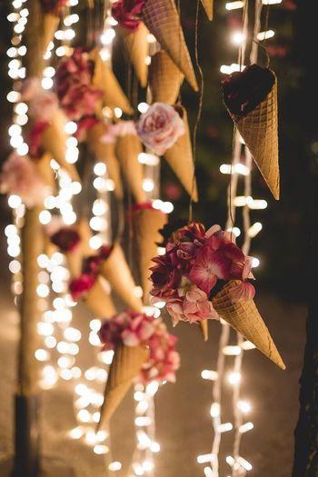 Photo of Flowers in hanging ice cream cones