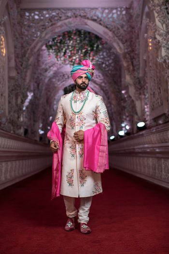 Pretty floral sherwani with pink and blue safa