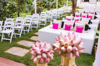 Pink and white theme decor for morning wedding