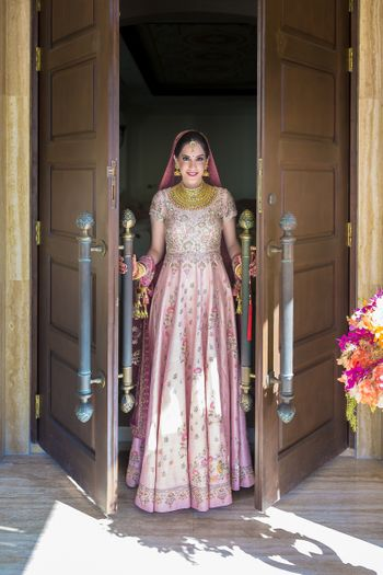 Sikh bride in light pink anarkali