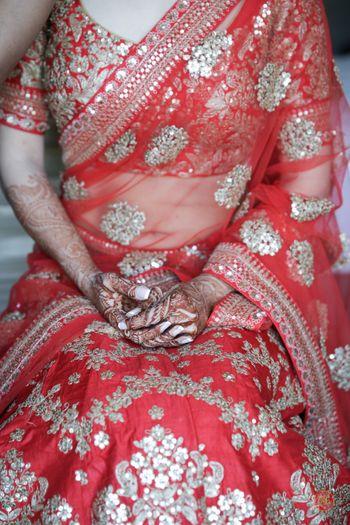 Photo of bride sitting