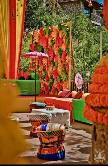 Photo of Mehendi decor with 3d floral wall