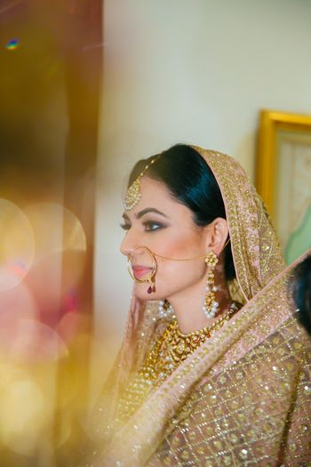 Champagne Pink Dupatta with Gold Jewelry