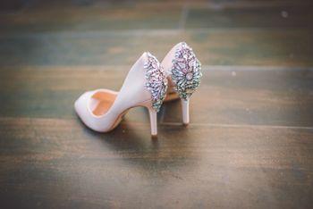 Nude embellished bridal shoes